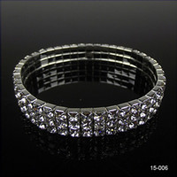 Wholesale trendy casual prom dress - Hot Sale Cute 3 Row Rhinestone Stretch Bangle Wedding Bracelets Bridal Jewelry Free Ship Cheap Bracelet for Bride Party Evening Prom Dress