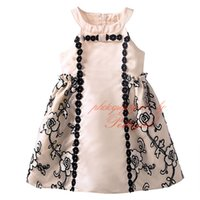 Wholesale Dress Baby Promotion - Pettigirl Promotion Girls Mesh Ruffle Sleeveless Dresses Decorated With Bow Apricot Grace Patchwork Baby Kids Wear DMGD81014-234F