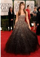 Wholesale Olivia Wilde Dresses - Olivia Wilde Golden Globes Ball Gown Crystal Sequins Beaded Celebrity Red Carpet Dresses Strapless Sparkle Glitter Formal prom Evening Dress