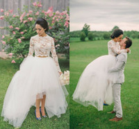 Wholesale Two Piece White Skirt - High Low Lace Wedding Dresses 2016 High Neck Jewel Long Sleeves Prom Dresses Tulle Layers Illusion Two Pieces Dresses Party Evening Cheap