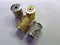 Wholesale Gold Lantern Spacer Beads - AAA grade 13x15mm 12pcs pave metal spacer &cubic zirconia crystal column tube barrel lantern silver gold mixed jewelry beads