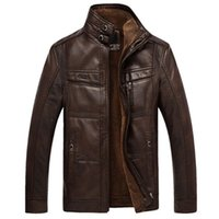 Wholesale Qiu Dong Jacket - Fall-Qiu dong season more men's leather jackets and fleece business casual warm coat in middle-aged plus-size free shipping 4xl