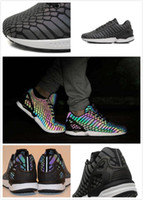 Wholesale Shoes Zx - 2016 men's brand shoes chameleon ZX FLUX XENO new All-Star 3M reflective black snake casual shoes Fluorescent color women shoes