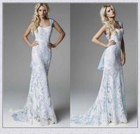 Wholesale Lace Dress Xs - Ice Blue Lace Wedding Dresses 2018 Sexy Sheath Sweep Train Elegant Cheap Custom Made Mermaid Bridal Dresses Gowns XS