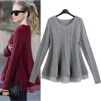 Wholesale ruffle sweater coat - Fall Winter Womens Knitted Pullover Sweaters with Organza Peplum Casual Long Sleeve Top Gorgeouse For Women 3D Rib Crochet Coat WY4005