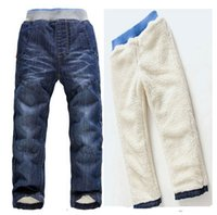 Wholesale Trouser Jeans For Kids - Retail children jeans 2015 new winter kids clothes girls thick warm trousers boys denim pants toddler clothing for 3-7Y 201508HX