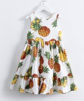 Wholesale Girls 14 Years Clothes - Retail Girls Dresses Pink Pineapple Print Beach Dress Cotton Sundress Children Clothes For 3-14 years E70782