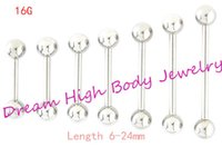 Tongue Bar Straight Barbell Ring Silhueta do joelho Piercing Tregus 1 .2mm 6mm 8 10 12 14 16 24mm Comprimento Ear Stud 16g Body Jewelry