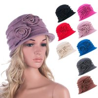 Wholesale Womens Red Wool Beret - Wholesale-A287 Womens Floral 1930s 1920s Winter Wool Cap Beret Beanie Cloche Bucket Hat