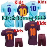 45508582c 17 18 kids kit child kit SUAREZ Jerseys Camisas O.DEMBELE Messi INIESTA  PIQUE Home away Soccer Jersey 2017 2018 Camiseta de futbol BOYS