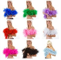 Wholesale Wholesale Ostrich Feathers Boas - 500PCS 40g 2M Wedding Decorations Party Holiday Pub Ostrich Feather Boa Fluffy Flower Costume Plume Centerpiece Dance Performance