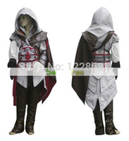 Wholesale Ezio Costume Kids - Free shipping Children Child kids kid Adult White Assassin's Creed II 2 Ezio Altair cosplay costume Custom made any size