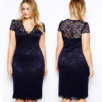 Wholesale Sexy Plus Size Pencil Dresses - New Fashion Sexy Women Midi Bodycon Dress V-Neck Floral Lace Plus Size XL XXL XXL 3XL Slim Pencil Dress Knee-Length Dark Blue G0665