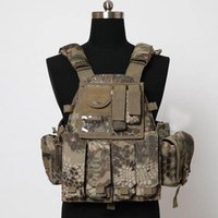 Wholesale Men S Military Bags - Fall-Black Typhon Tactical Military 6094 style Plate Carrier Vest with 3 pouches bag