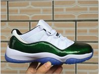 2018 New High Quality Retro 11 Low Easter Emerald scarpe da basket da uomo Sneakers economici White / Emerald Rise-Black scarpe da ginnastica per gli uomini US7-13
