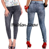 Wholesale Women Leggings Feet - New 2014 Autumn Fashion Pants for Women Was Thin Denim Jeans Leggings Nine Plus Size Stretch Pants Feet 2 Colors SV07 SV004648