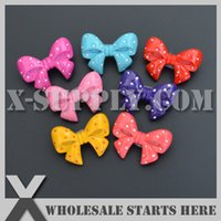 Wholesale Wholesale Hairbow Resins - Free Shipping Cute Bows Flat Back Resin Cabochon with Pin Brooch for Hairbow,Headband,Girl Decorations,Phone Case
