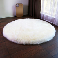 Wholesale Fur Carpet Rug - Long Faux Fur Artificial Sheepskin Fluffy Chair Seat Sofa Cover Round Carpet Mat Area Rug Living Bedroom Home Decoration White
