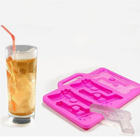 Wholesale Chocolate Plastic Tray - Gun Pistol Freeze Party Bar Ice Jelly Chocolate Silicone Mold Mould Maker Tray #23305