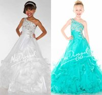 Wholesale One Shoulder Aqua Ruffle Dress - 2016 Fancy Pageant Dresses For Girls One Shoulder Crystal Pleated Organza Floor Length White Aqua Green Girls Pageant Dresses Tiered Skirt