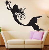 Wholesale Under Sea Wall Decals - 2016 Under The Sea Mermaid Girl Nursery Room Wall Decal Art Home Decor Wall Stickers Vinyl Wall Poster Mural