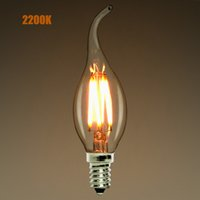 Wholesale Dimmable E12 E14 W W W LED Filament Candelabra Light Bulb K warm yellow Chandelier Flame Tip VAC Retro Lamp