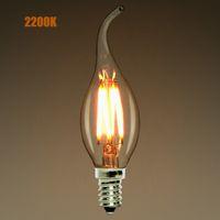 ingrosso lampadario a bulbo di filamenti-Dimmerabile, E12 E14,2W 4W 6W LED Lampadina a filamento a candelabro, 2200K (giallo caldo), Punta a candela, 110-240VAC, Retro lampada