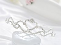 Wholesale Tiara Supplies Wholesale - Baby girls Headbands mini tiaras jewelry Manufacturer supply Hair set of the bride heart Tiara jewelry 6pcs lot S-HG912