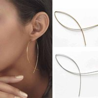 Wholesale Hoop Wire - TOMTOSH 2017 New Fashion Punk Gold Color Simple Long Wire Fish For Women Fine Long Ear Earrings Jewelry