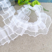 Wholesale Sewing Trims Doll - 1 Yard White Organza Tulle Lace Trim DIY Sewing Trimmings Craft For Baby Doll Wedding Dress Garment Accessories YR0014