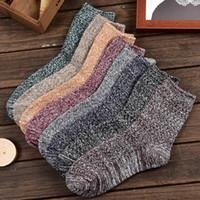 Wholesale Socks Knitting Needles - Double needle thick line socks in the tube trend cotton socks men autumn and winter national wind men socks free shipping