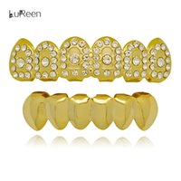 Lureen Gold Silver Iced Out Denti Rock Stile Hip Hop Crystal Bling Grillz Top Bottom Dental Grills Vampire Denti per Costume Party