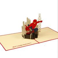 всплывающая открытка день рождения бесплатно оптовых-Прохладный американский герой открытка ручной работы DIY киригами оригами 3D всплывающие поздравительные открытки с Днем Рождения бесплатная DHL