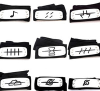 Wholesale Naruto Headbands - PrettyBaby ANIME Naruto Headband 95cm Leaf Village Logo Konoha Kakashi Akatsuki Members Cosplay Costume Accessories blue red black in stock