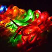 Wholesale Novelty Disco Lights - Novelty Color LED Flash Light Shoelaces Shiny Sports Shoes Woven Laces Disco Party Boys Girls Shoestrings Promotion Shoe Accessories SK444