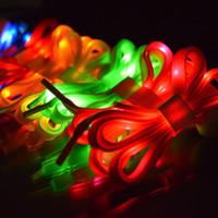 meninos de disco venda por atacado-Novidade Cor LED Flash de Luz Cadarços Shiny Sports Shoes Woven Laces Discoteca Partido Meninos / Meninas Shoestrings Sapato Promoção Acessórios SK444