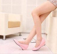 Wholesale-Patent Leather Women's Shoes 2015 Pointed Toe Femmes Talons hauts Candy Color Ladies Wedges Chaussures Solid PU Leather Sapatos