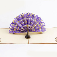 Wholesale Handmade Greeting Cards For Birthday - New Hollow Peacock Handmade Kirigami Origami 3D Pop UP Greeting Cards Invitation Postcard For Birthday Wedding Party Gift free shipping