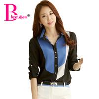 Wholesale Korean Office Blouses - New 2016 Korean Style Office Work Wear Fashion Color Block Collar Long Sleeve Chiffon Women Blouse Shirt Blusas Roupas Femininas