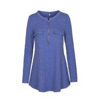 Wholesale Black Lotus Clothing - Women Pullover Solid Long Sleeve T-shirt Autumn Winter Vintage Zipper Casual Tops Slim Lotus Leaf Ladies Clothing Plus Size