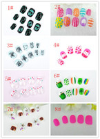 Wholesale green lighting products - Children's false nails abstract animal motifs of nail art products nail