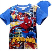 Wholesale Spiderman Shirts For Girls - 10PCS fashion t shirt girls' cartoon Spiderman tshirt Print Cotton t shirts children's kids summer tops for kids clothes boys BFH980