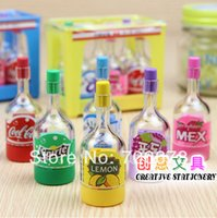Wholesale Erasers Bottle - Wholesale-Free shipping 36pcs pack creative Stationery cute soda bottle pencil sharpener beverage cans with rubber eraser 6.5*2.4cm