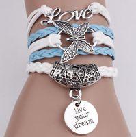 Wholesale love braided bracelet online - Vintage LOVE Butterfly Infinity Charm Bracelets Live Your Dream Women Rope Letter Bracelets Wrap Bracelets Multilayer Braided Bracelet