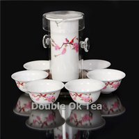 All'ingrosso-Peach 7pcs Fine Chinese tè nero di vetro Gongfu Set For Tea 1 Ceramica Teiera 6 Bone China tazze da tè in porcellana Tea Service Presente
