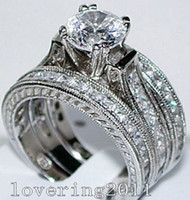 Wholesale Diamond 14kt Rings - Free shipping Hot sale Engagement Topaz Simulated Diamond Diamonique 14KT White Gold Filled 3 Wedding women Ring Sets gift Size 5-11