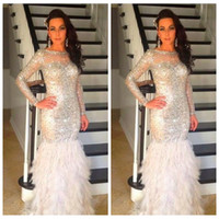 Wholesale Sparkling Long Mermaid Dresses - 2016 Gorgeous Sparkling Crystal Beaded Mermaid Evening Dress Long Sleeves Crew Neck Feather Prom Dress Formal Party Gown vestido de festa