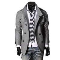 casaco elegante longo mens venda por atacado-Queda-Nova Marca de Inverno Mens Casacos Casacos Moda Mens Double Breasted Elegante Peacoat Homens de Alta Qualidade longo Trench Coat