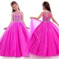 boncuklu elbiseler çocukları giydiriyor toptan satış-Güzel Kızlar Pageant Elbiseler 2015 Rachel Allen Sheer Jewel Boyun Aplike Boncuklu Kat Uzunluk Çocuk Pageant Abiye ile BO9955