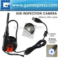 200mm USB-Kabel-HD-8,5 mm Kamerakopf Video Inspektions Endoskop 6 LED-Licht-Band-Stil Endoskop SnakeScope